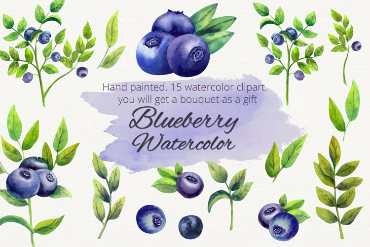 Blueberry. Watercolor clipart example image 1