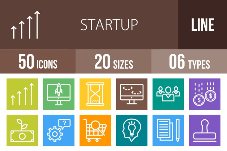50 Startup Line Multicolor B/G Icons example image 1