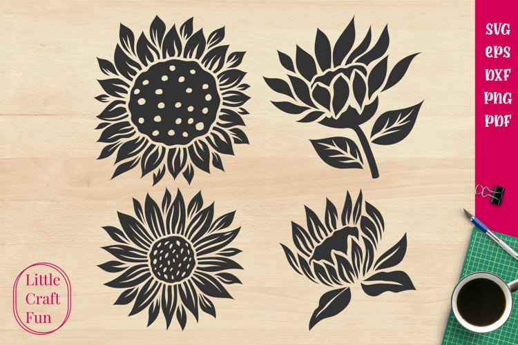 Sunflowers Silhouette Svg example image 1