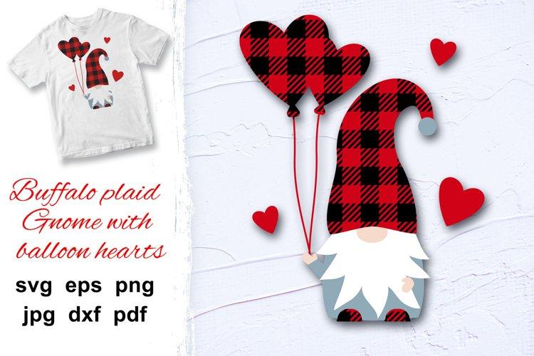 Gnome Valentine Buffalo plaid, love hearts, balloons svg. example image 1