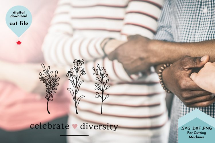 Celebrate Diversity flowers, Inspirational SVG Hand Drawn example 2