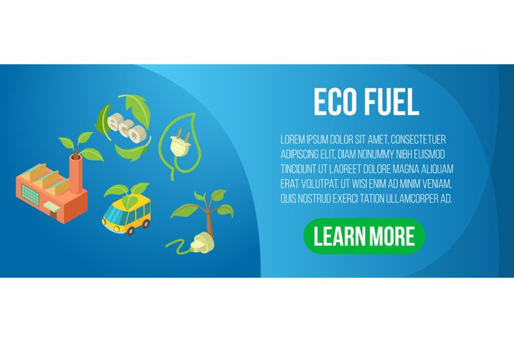 Eco fuel concept banner, isometric style example image 1