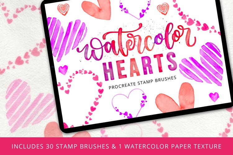 Watercolor Hearts Stamp Brush Set example image 1