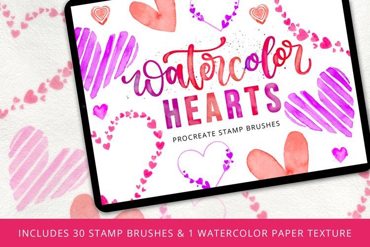Watercolor Hearts Stamp Brush Set