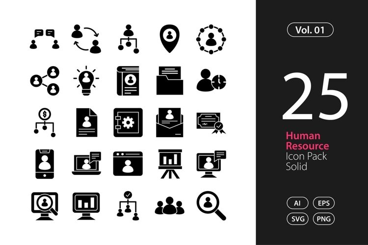 Human Resource Icon Solid SVG, EPS, PNG