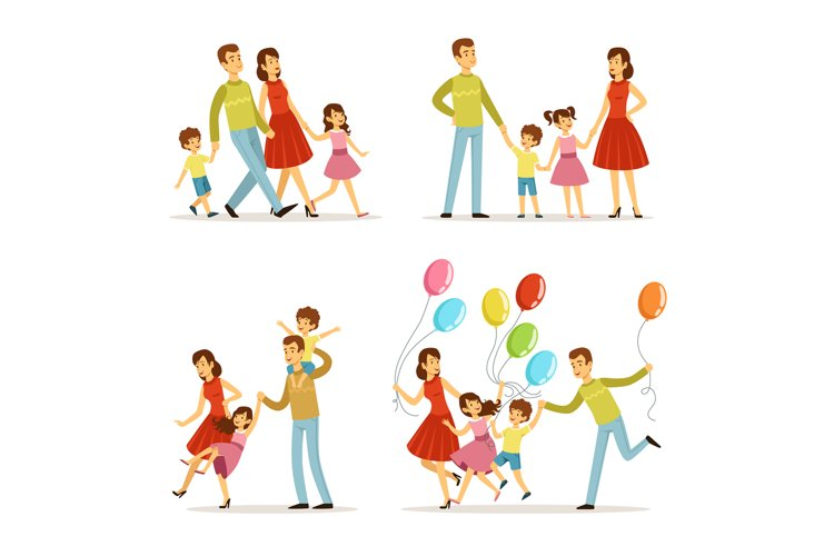 Happy family portrait. Father, mother and kids walking in pa example image 1