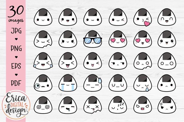 Onigiri emoji clipart Cute Smiley face Emoticon Bundle Sushi example image 1