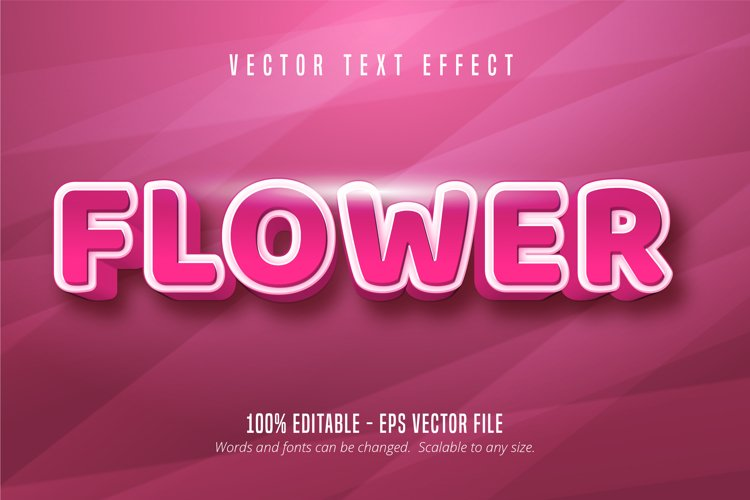 Flower text, pink color editable text effect example image 1