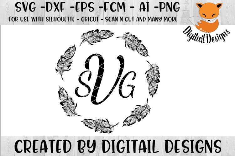 Feather Monogram Frame SVG example image 1