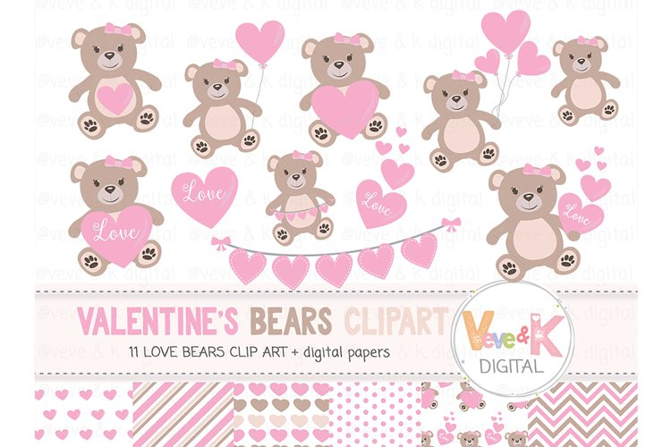 Teddy Bear Clipart Set, Love Bear Clipart, Love Bear Digital Papers, Valentines day Clip art, Pink Hearts Clipart, Love Bear Images, Love
