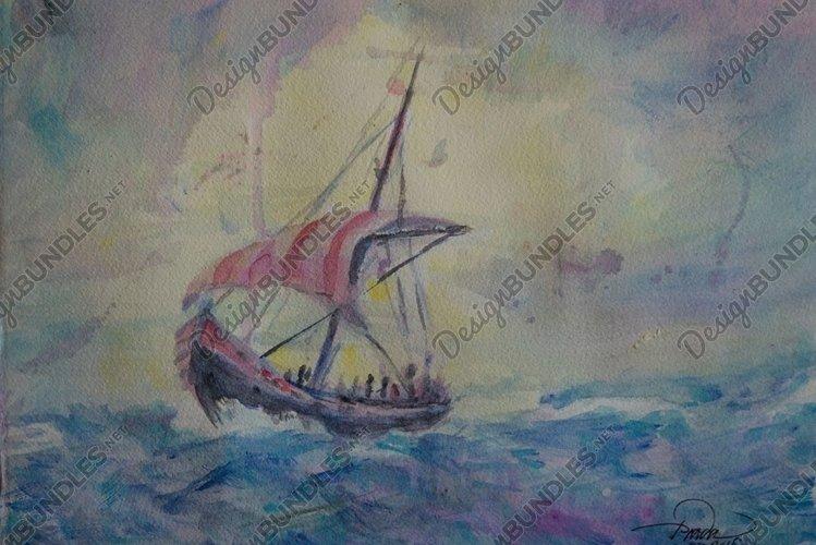 Saling in choppy seas Watercolor