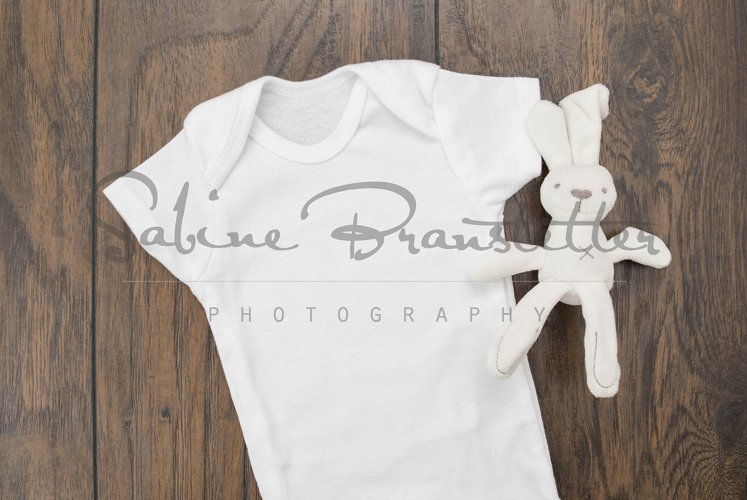Styled Stock Photography Unisex White Baby Bodysuit Mockup example image 1