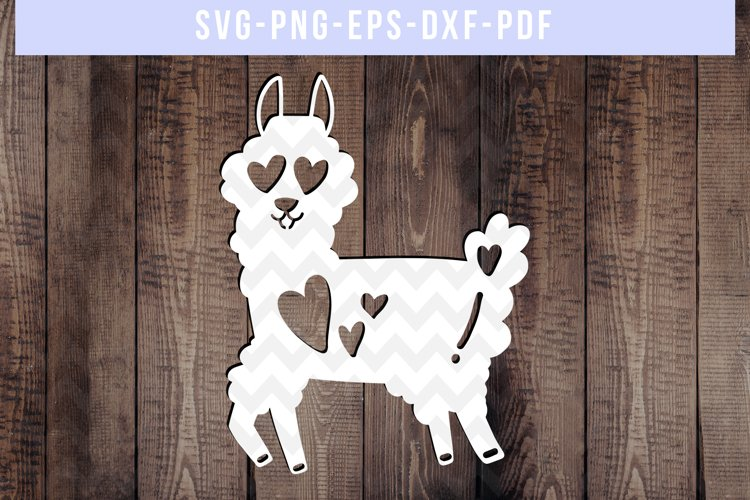 Funny Llama Papercut Template, Valentine Paper Art, SVG, DXF example image 1