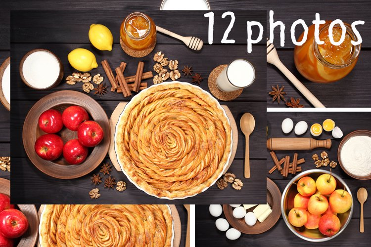 Set 12 photos Apple Pie and raw ingredients for baking. Sweet food series. Dessert. Top view