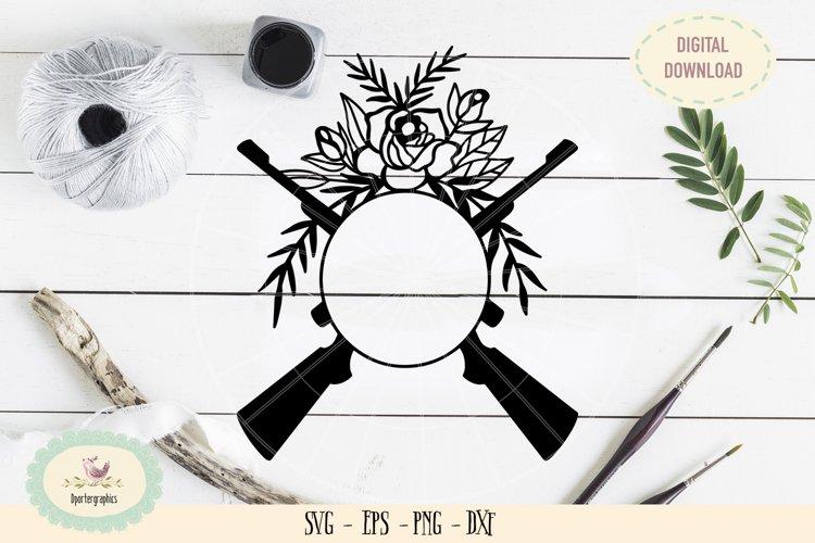Monogram rifle gun roses SVG PNG hand drawn
