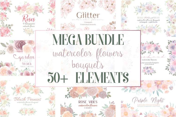 MEGA BUNDLE, Watercolor Flowers Bouquets, Sublimation PNG