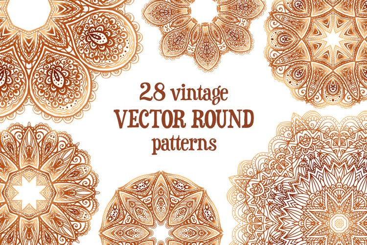 Set of 28 vintage round patterns