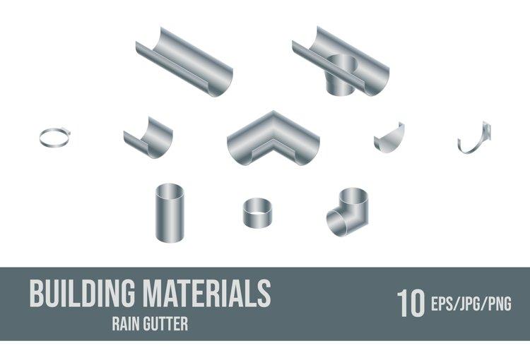 Set of vector illustrations rain gutter elements. example image 1
