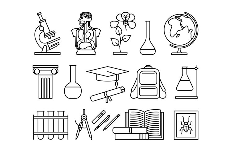 Science and education thin line icons example image 1