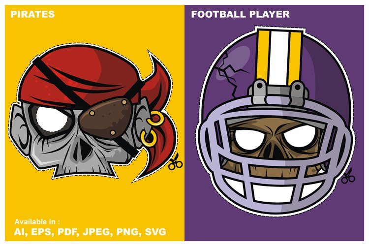 Zombie Invasion Paper Mask - Pirate vs Football Player