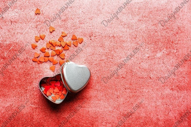 Valentines Day Flat lay Template. Red hearts. Copy space