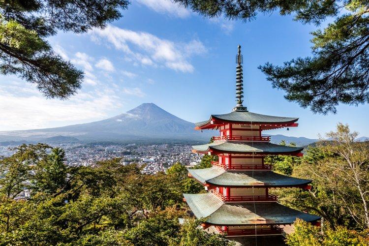 Mt. Fuji and Chureito red pagoda, Yamanashi, Japan Fuji and