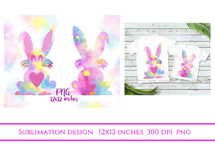 Easter Bunny Sublimation PNG,Bunny Print, Happy Easter example image 1