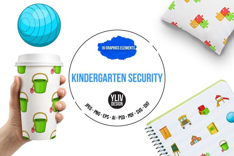 Kindergarten security icons set, cartoon style example image 1