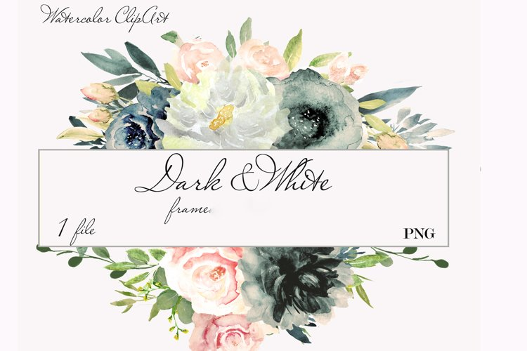 Blush and Navy Watercolor Clipart example image 1