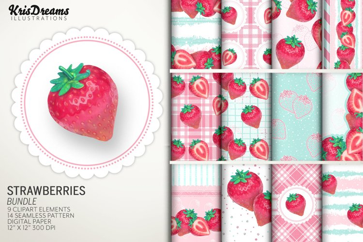 Strawberry Clipart and Digital Paper Graphics Bundle