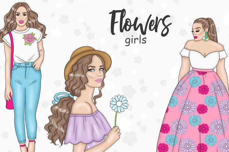 Flowers GIRLS Spring Floral Garden Butterfly Sticker - PNG example image 1