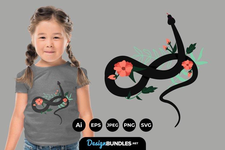 Snake and Flower Illustrations for T-Shirt Design