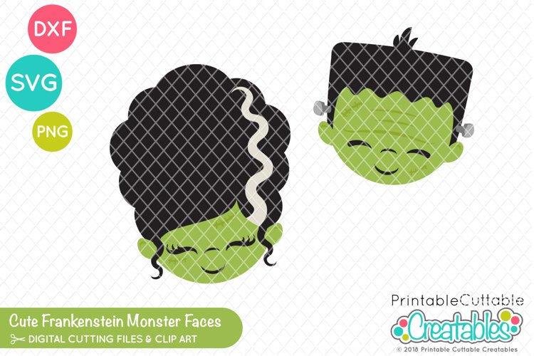 Cute Frankenstein Monster Faces SVG example image 1