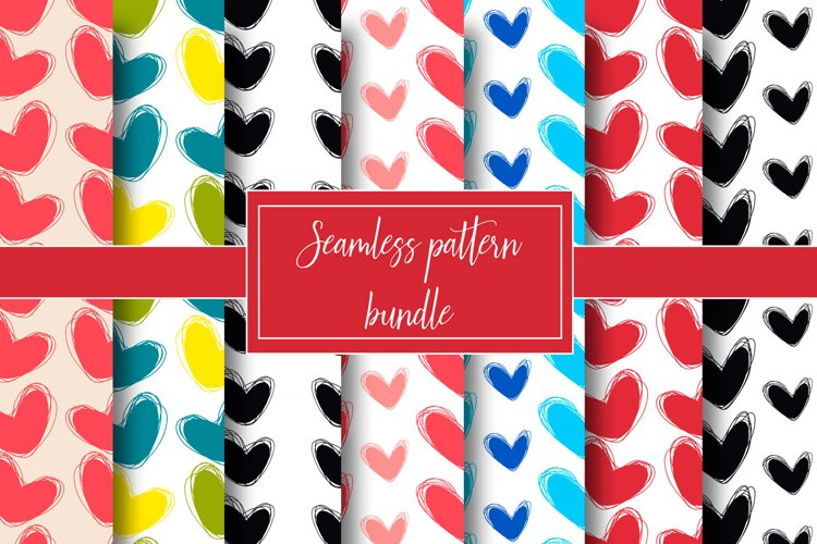Cute doodle seamless pattern. Heart hand drawings example image 1