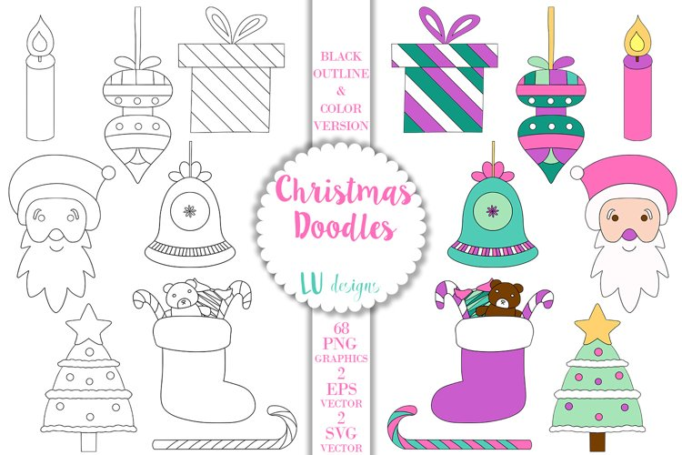 Christmas Doodles Clipart, Holidays Vector Doodles Graphics