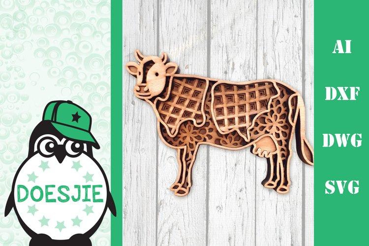 Cow farm animal 3d svg model multi layer mandala layered example image 1