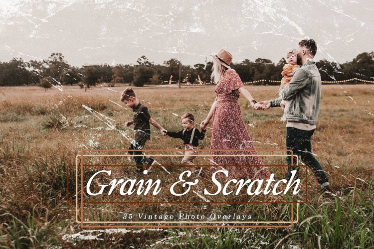 35 Vintage Grain and Scratch Photo Overlays, Retro Textures