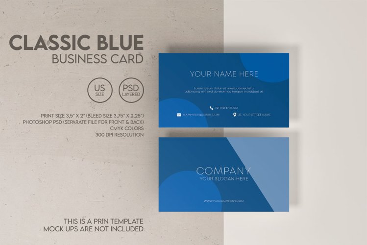 Classic Blue Business Card example image 1