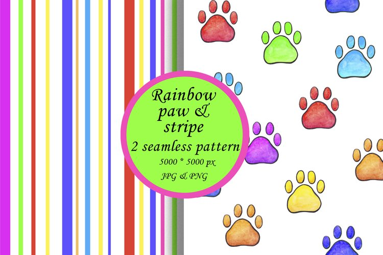 Rainbow Paw Print Digital Paper, Rainbow stripes
