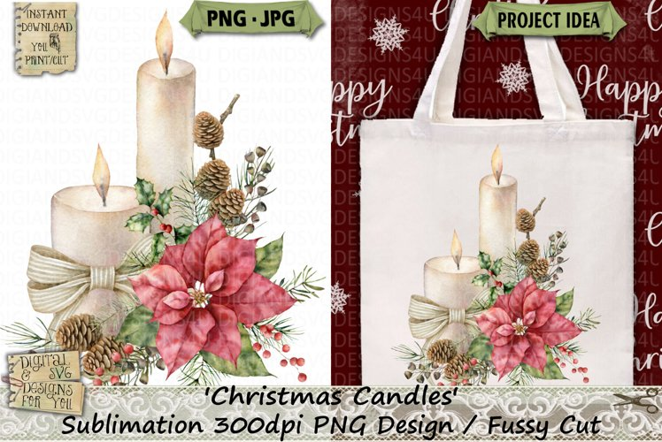 Christmas | Candle | Poinsettia | Sublimation | Clipart example image 1