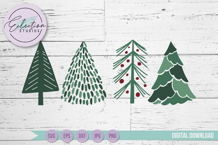 Christmas Trees SVG, Hand drawn doodle Christmas trees example 1