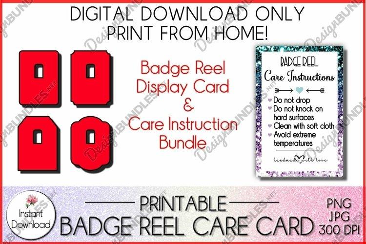 Badge Reel Display Card, Badge Reel Care Card Bundle