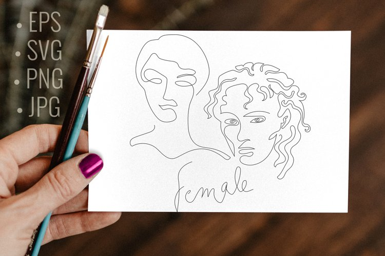Abstract line art woman faces