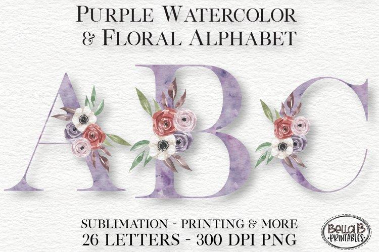 Purple Watercolor Floral Alphabet Set, Sublimation Alphabet
