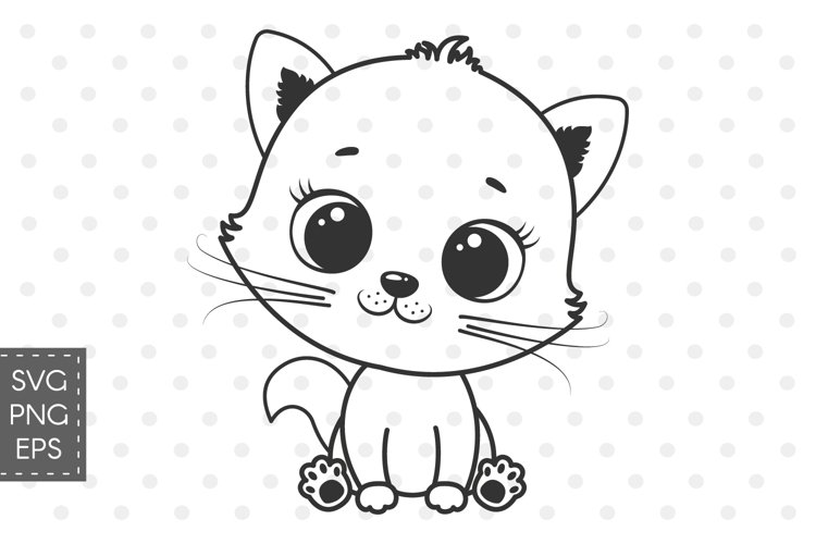 Cute kitten clipart, SVG, PNG, EPS example image 1