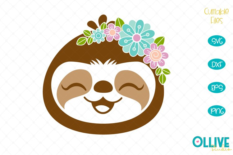 Floral Sloth SVG example image 1
