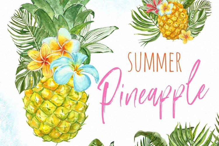 Watercolor Pineapple Clipart Summer Tropical Fruit clip art example image 1