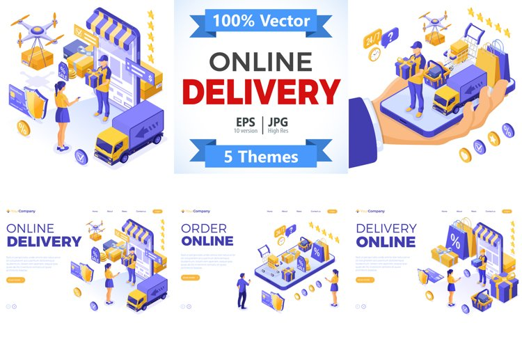 Online Internet Shopping Delivery Isometric Concepts example image 1
