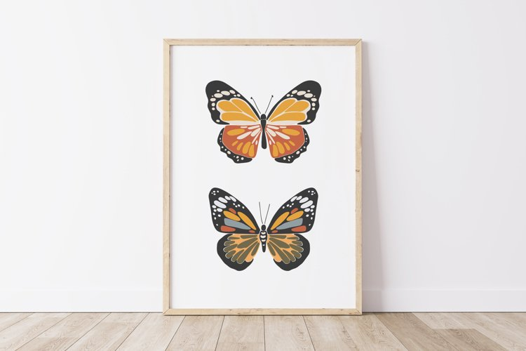 Boho butterfly print, Digital butterfly poster, Spring print example image 1