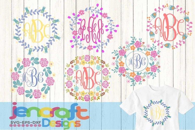 Floral SVG Flower Wreath SVG, Roses Monogram Frame SVG